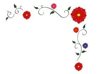 Flower and vine corner border