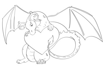 Dragon holding a Heart