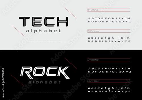 Sport technology alphabet letters font set  Modern lettering