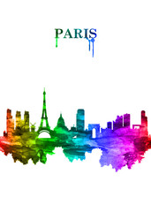 Fototapete - Paris France skyline Portrait Rainbow