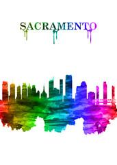 Wall Mural - Sacramento California skyline Portrait Rainbow