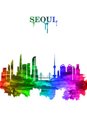 Fototapete - Seoul South Korea skyline Portrait Rainbow