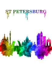 Wall Mural - St. Petersburg Russian skyline Portrait Rainbow