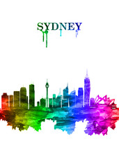 Wall Mural - Sydney Australia skyline Portrait Rainbow