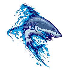 aggressive shark jump attack illustration