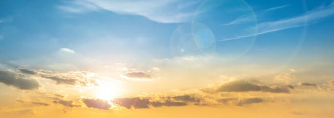 Beautiful sunset panorama, orange and blue