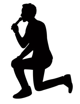 a man speaking, silhouette vector
