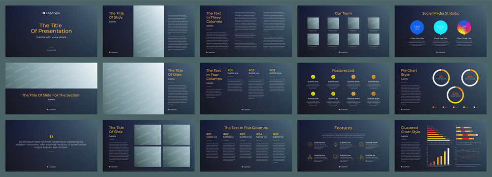 Presentation template, dark background. For Power Point, ppt, or Keynote layout. Vector infographics. For Business presentation or proposal, leaflet, corporate annual report, marketing, advertising.