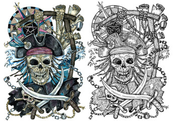 Pirate Jolly Roger skull with compass and rope for gallows.