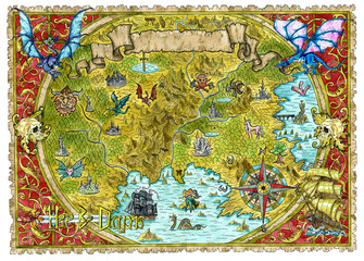 Watercolor pirate map of fantasy world with dragons.