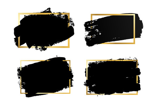 Brush strokes set, gold text box, isolated white background. Black paint brush. Grunge texture stroke frame. Ink design. Border shape, paintbrush element. Brushstroke graphic. Vector illustration