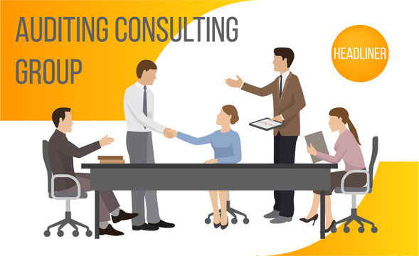Auditing consult group banner vector illustration. Business concept for team to analyze audit, finding solutions to financial tax, data in various fields. People shaking hands.