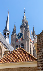 Spires of Delft Cathedral Towers, rear view.