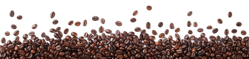 Papiers peints Café en grains Coffee beans border isolated on white background.