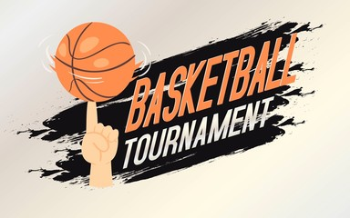Basketball tournament banner, flyer vector illustration. Person spininig ball on finger. Advertisement of league or championship. Active kind of sport. Game for sporty people.