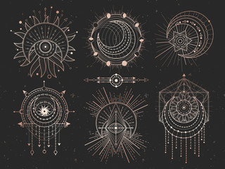 Vector set of Sacred geometric symbols and half moon on black grunge background. Gold abstract mystic signs collection.