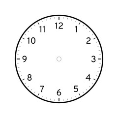 Empty printable clock face template isolated on white background