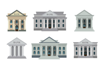 Bank buildings icons set isolated on white background. Front view of court house, bank, university or governmental institution. Vector illustration. Flat design style. Eps 10.
