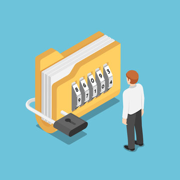 Isometric businessman standing with folder with lock