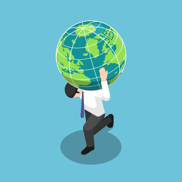 Isometric businessman carrying the world or earth globe on his shoulder