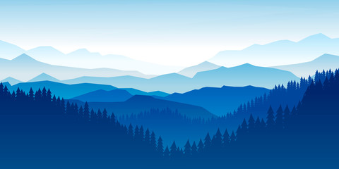 Peaceful landscape. Vector illustration. Minimalist style. Monotone colors. Wallpaper in the natural concept. Silhouettes of the mountains. Slopes, relief. Panoramic image Wall mural