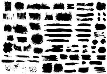 Big set of black paint, ink brush strokes, brushes, lines, grungy. Freehand drawing. Dirty artistic design elements, boxes, frames. Vector abstract illustration. Isolated on white background.