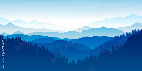 Fototapete Peaceful landscape. Vector illustration. Minimalist style. Monotone colors. Wallpaper in the natural concept. Silhouettes of the mountains. Slopes, relief. Panoramic image