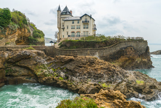 Villa Beltza, a 19th century neo-medieval style house on the cliffs of the rocky coastline of Biarritz, French Basque Country - Image