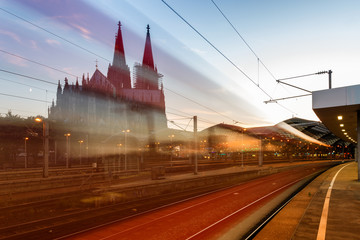 train in motion, Cologne. Cologne Cathedral