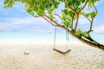 Koh Rok Island - Beautiful seascape with wounderful white beach and blue sky Best island in Koh Lanta Island Krabi Province Thailand