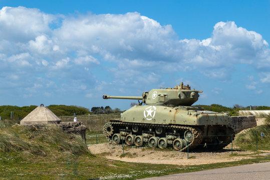 Sherman tank at Utah beach Normandy France