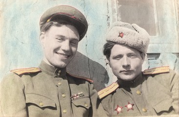 Portrait of Soviet officers of the Armed Forces of the Soviet Army. Retouched old photo,circa 1949