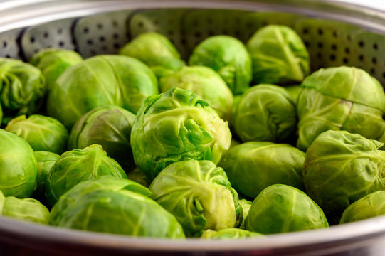 Raw Brussels sprouts in steam cooker
