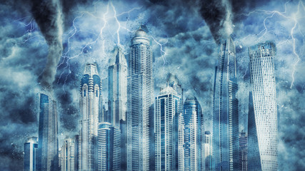 Dubai buildings during the heavy storm, rain and lighting in Dubai, creative picture.
