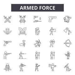 Armed force line icons, signs, vector set, outline concept, linear illustration