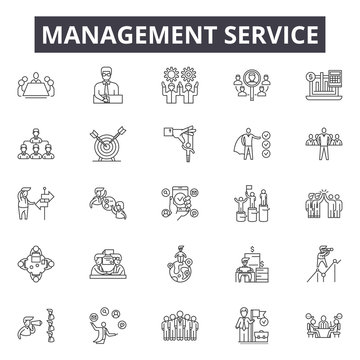 Managment service line icons, signs, vector set, outline concept, linear illustration