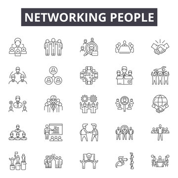 Networking people line icons, signs, vector set, outline concept, linear illustration