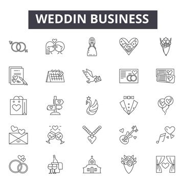 Wedding planning line icons, signs, vector set, outline concept, linear illustration