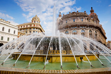 Piazza De Ferrari is the main square of Genoa, renowned for its fountain and where many institutions were established: stock exchange, Credito Italiano. Genova, Italy