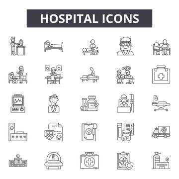 Hospital line icons, signs, vector set, outline concept, linear illustration