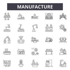 Manufacture line icons, signs, vector set, outline concept, linear illustration
