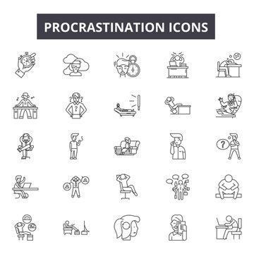 Procrastination line icons, signs, vector set, outline concept, linear illustration