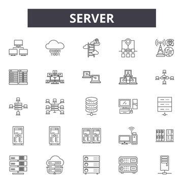 Server line icons, signs, vector set, outline concept, linear illustration