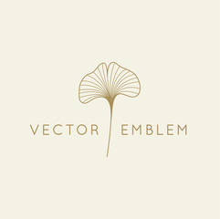 Vector abstract logo design template in trendy linear minimal style - ginkgo biloba leaf