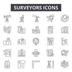Surveyors line icons, signs, vector set, outline concept, linear illustration