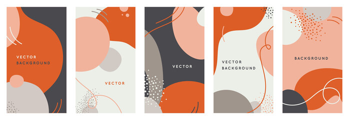 Vector set of abstract creative backgrounds in minimal trendy style with copy space for text - design templates for social media stories Fototapete