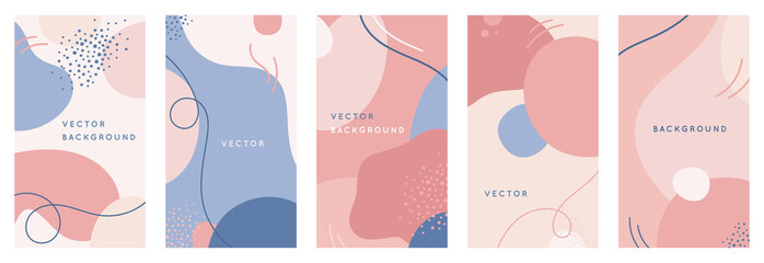 Vector set of abstract creative backgrounds in minimal trendy style with copy space for text - design templates for social media stories Fotoväggar