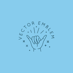 Vector abstract logo design template in trendy linear minimal style - hand in shaka gesture