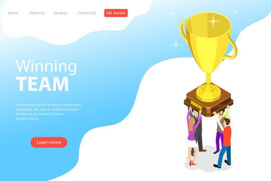 Flat isometric vector landing page template of winning team, effective teamwork.
