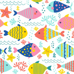 Seamless vector pattern with cute fishes and water plants in bright colors.